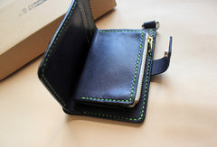 Handmade black fashion leather short ID card photo holder bifold wallet for women