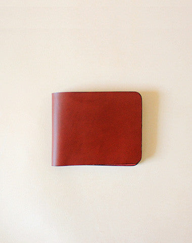 Handmade fashion red cute leather billfold ID card holder bifold wallet for women/lady girl