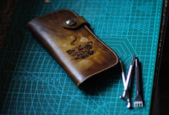 Handmade biker wallet leather carved coffee tan motorcycle leather wallet for men