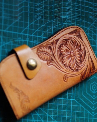 Handmade biker wallet leather carved floral brown motorcycle leather wallet for men