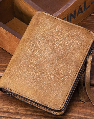 Handmade short wallet leather men zip multi cards vintage wallet for men