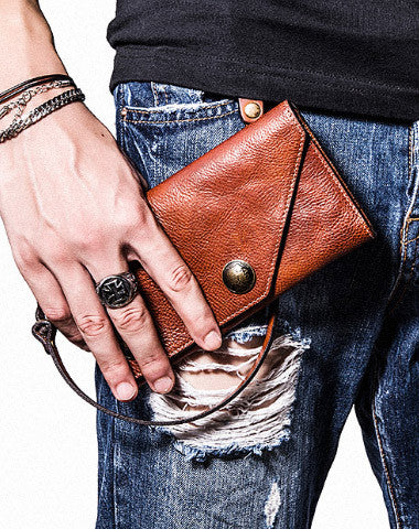 [On Sales] Handmade leather biker trucker wallet leather chain men Brown long wallet