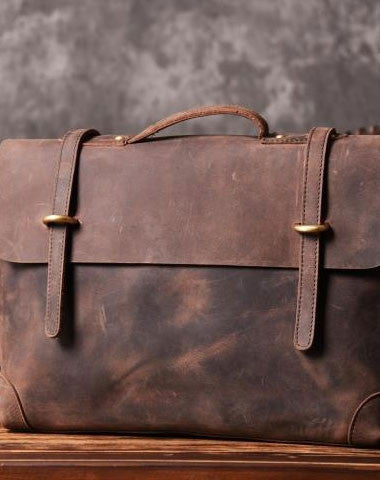 Handmade Cool leather mens Briefcases vintage laptop Briefcase Business Briefcase