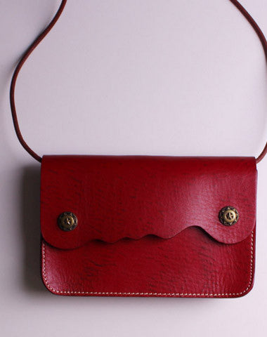 Handmade Leather small purse bag shoulder bag red dark green for women leather crossbody bag