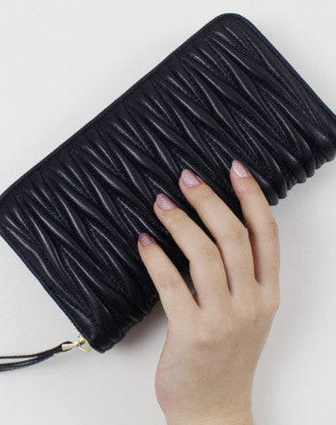 Womens Long Leather Zip Wallet Clutch