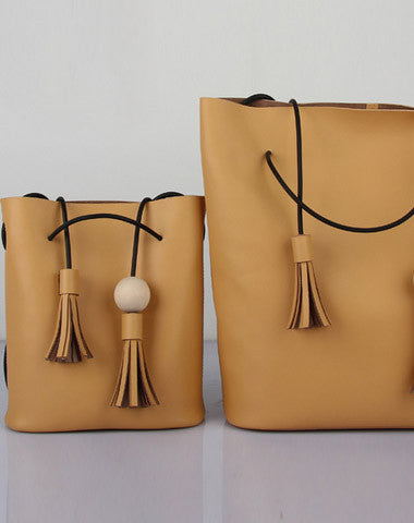 Handmade Leather bucket bag shoulder bag Yellow black for women leather crossbody bag