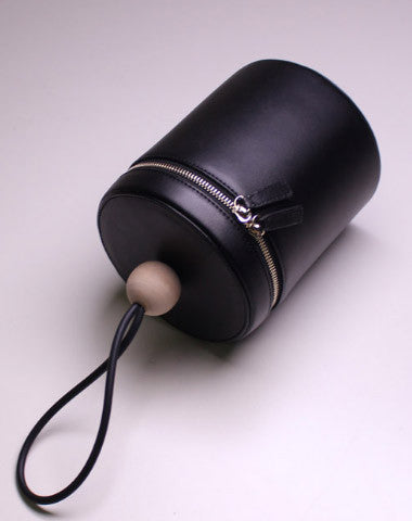 Genuine leather round bucket clutch handbag black clutch purse clutch zip wallet women