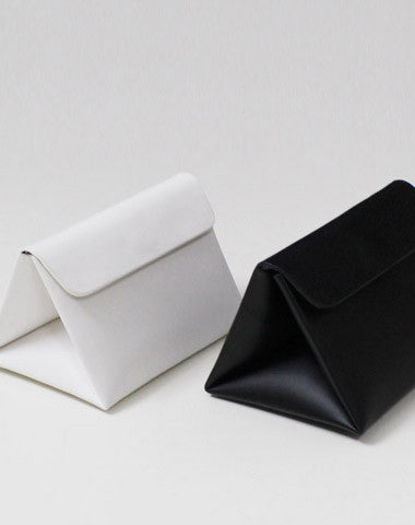 Leather Women Clutch bag shoulder bag triangle black white for leather crossbody bag