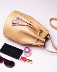 Genuine Leather bucket bag shoulder bag black beige for women leather crossbody bag