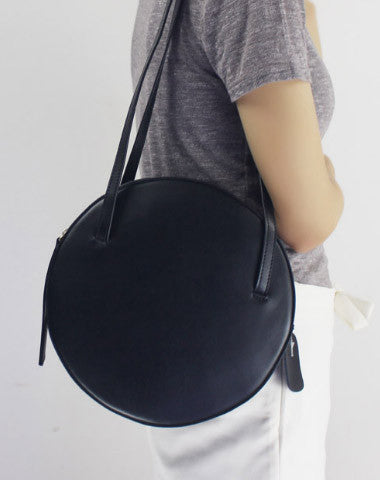 Genuine Leather round bag shoulder bag purse for women leather backpack