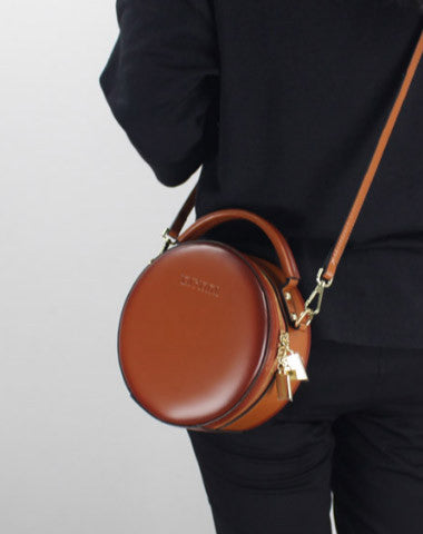 GENUINE LEATHER ROUND BAG SHOULDER BAG BLACK FOR WOMEN LEATHER CROSSBODY BAG