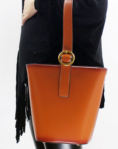 Genuine Leather bucket purse handbag shoulder bag for women leather crossbody bag