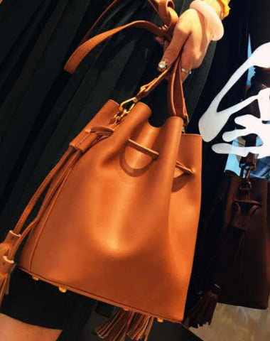Genuine Leather Bucket Bag Purse Bag Shoulder Bag for Women Leather Crossbody Bag