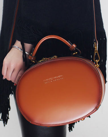 Genuine Leather oval round handbag shoulder bag for women leather crossbody bag