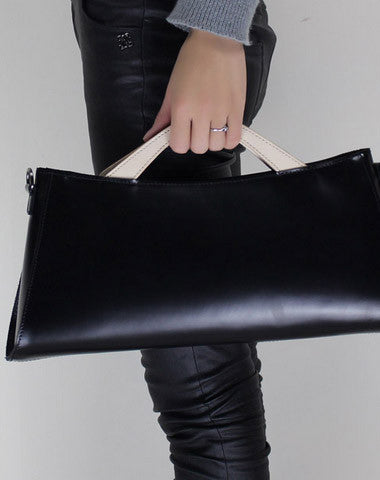 Handmade Leather Long handbag shoulder bag black for women leather crossbody bag