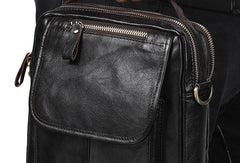 Men Leather Black Handbag Messenger Bag Crossbody bag Cool For Men