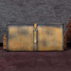 Women Vintage Leather Long Wallets For Ladies Flat Bifold Clutch Long Wallet for Ladies