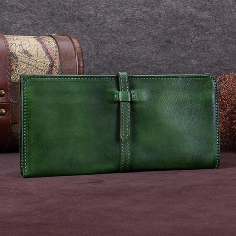 Green Womens Leather Slim Long Wallet Bifold Leather Wallet Womens Long Purse for Ladies