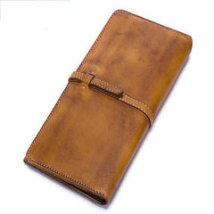 Leather WOmens Brown Checkbook Wallet Long Wallet Womens Green Leather Wallet for Ladies