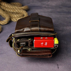 Fashion Leather Men's Belt Pouch Cell Phone Holsters Brown Mini Waist Bag For Men