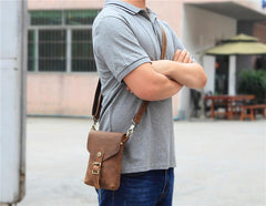 Vintage Brown Leather Men's Belt Pouch Cell Phone Holster Waist Belt Bag Mini Side Bag For Men