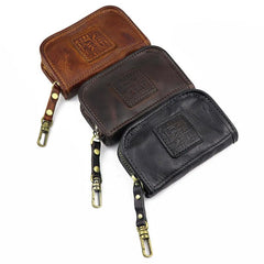 Vintage Brown Leather Men's Car Key Wallet Black Key Zipper Wallet For Men