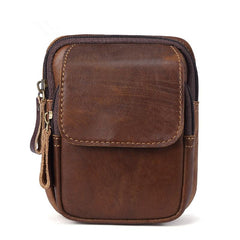 Vintage Brown Leather Men's Cell Phone Holster Waist Belt Pouch Belt Bag For Men