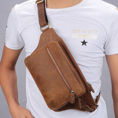 Vintage Brown Leather Men's Fanny Pack Coffee Chest Bag Waist Bag For Men