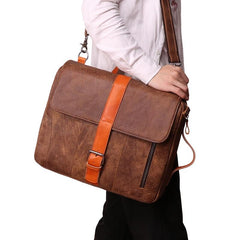 Cool Brown Leather Men's Messenger Bag Handbag Backpack Briefcase For Men