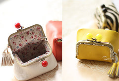Handmade cute womens leather small change purse coin wallet pouch for women