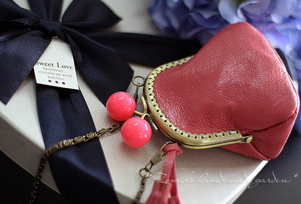 Handmade sweet cute leather small change coin wallet pouch purse for women/lady girl