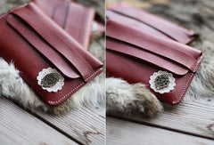 Handmade vintage sweet pretty red flower leather iphone case cover for women/lady girl