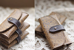 Handmade vintage classic rustic leather small keys wallet pouch purse for women/lady girl