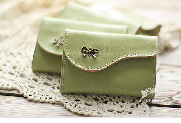 Handmade light green cute leather small change coin wallet pouch purse for women/lady girl