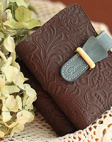 Handmade vintage rustic retro leather small ID cards wallet pouch purse for women/lady girl