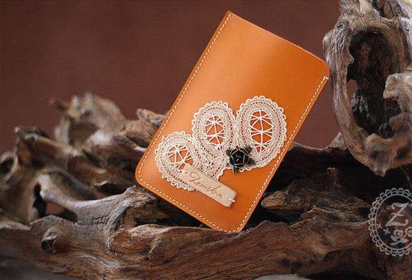 Handmade vintage rustic orange leather iphone case cover bag pouch for women/lady girl