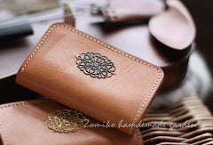 Handmade vintage pretty flower leather small keys wallet pouch purse for women/lady girl
