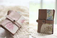 Handmade sweet cute pretty fabric leather small cards wallet pouch purse for women/lady girl