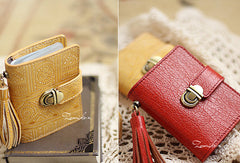 Handmade cute pretty cilice leather small cards wallet pouch purse for women/lady girl