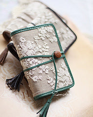 Handmade vintage fabric lace leather small cards wallet pouch purse for women/lady girl
