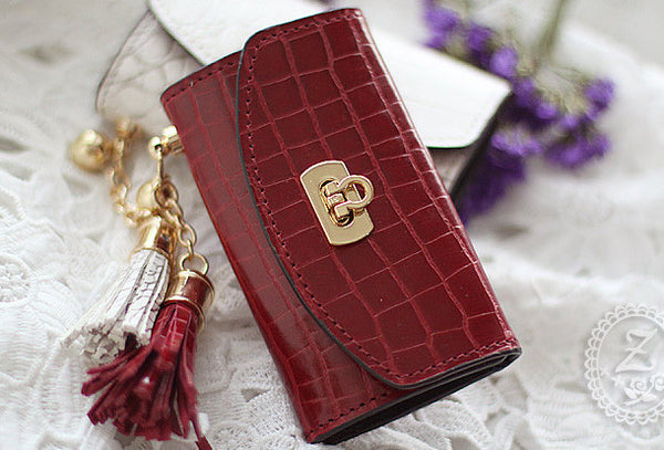 Handmade modern pretty leather small keys wallet pouch purse for women/lady girl