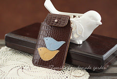 Handmade vintage sweet pretty leather iphone case cover bag pouch for women/lady girl