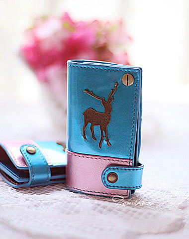 Handmade vintage sweet pretty leather small keys wallet pouch purse for women/lady girl