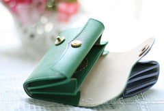 Handmade sweet modern leather small change coin wallet pouch purse for women/lady girl