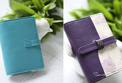 Handmade sweet cute split joint leather short passport bifold wallet for women/lady girl