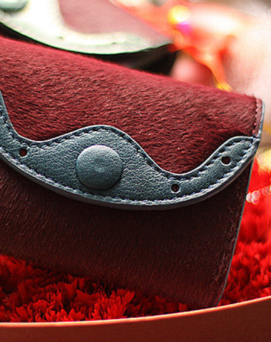 Handmade vintage sweet cute red orchid leather billfold trifold wallet for women/lady