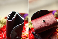 Handmade vintage sweet cute red orchid leather short trifold wallet for women/lady