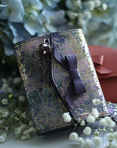 Handmade vintage cute bowknot leather short bifold wallet for women/lady