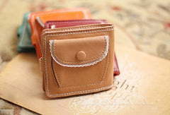 Handmade vintage cute sweet lace leather small bifold wallet for women/lady