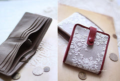 Handmade vintage cute womens lace leather small bifold wallet for women
